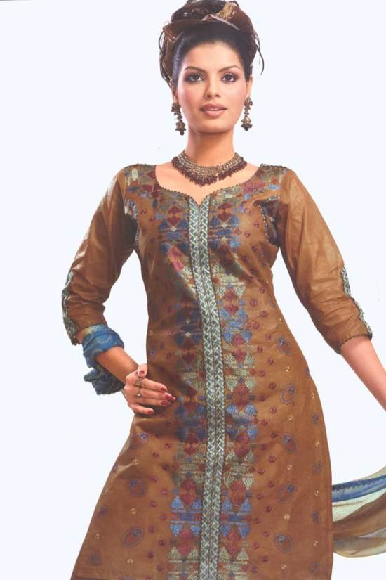 Brown Cotton Party Salwar Kameez