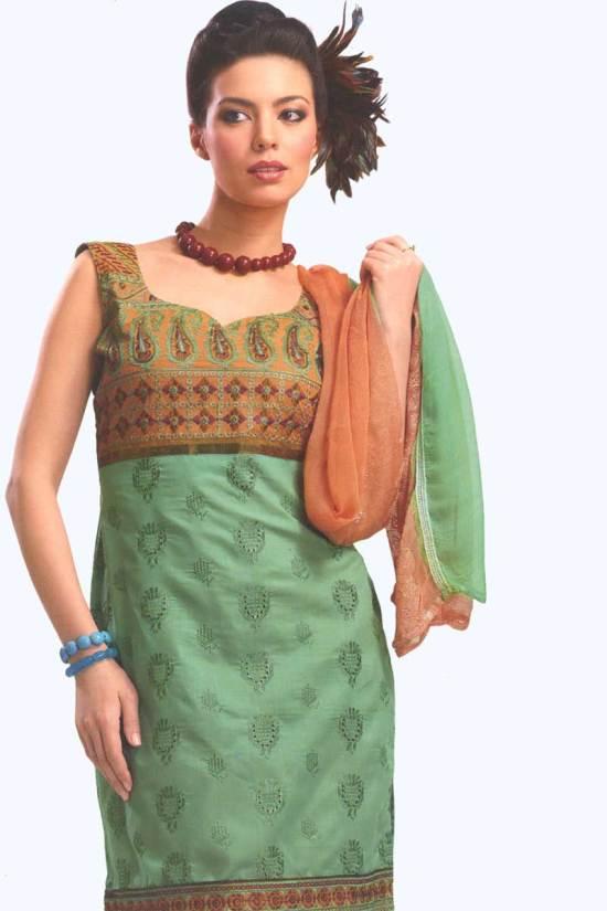 Light Olive Green and Orange Cotton Party Salwar Kameez