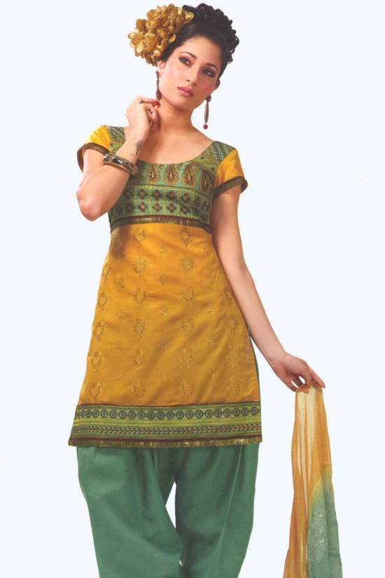 Musturd and Pine Green Cotton Party Salwar Kameez