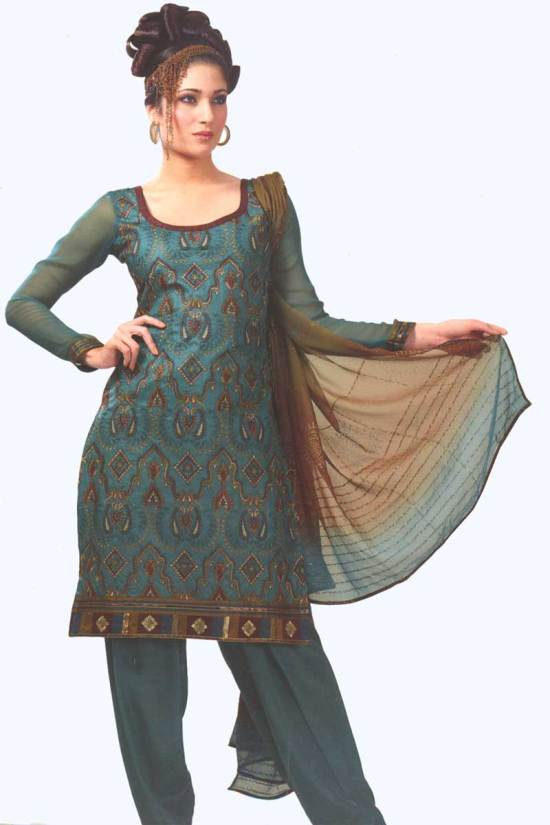 Bondi Blue Cotton Party Salwar Kameez