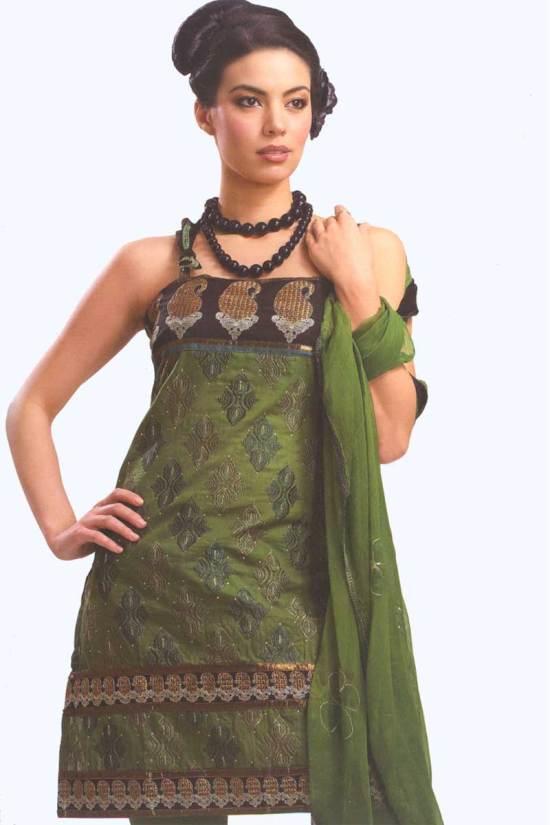 Fern Green Cotton Party Salwar Kameez