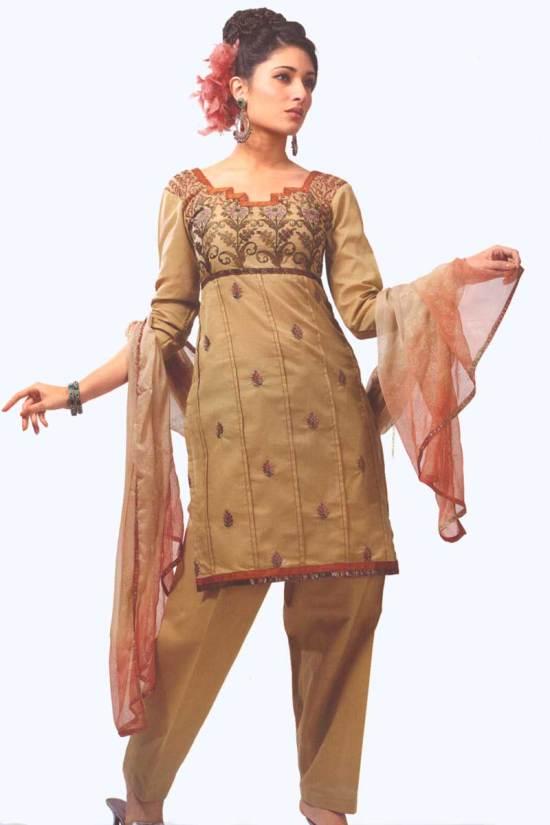 Fallow Brown Cotton Party Salwar Kameez