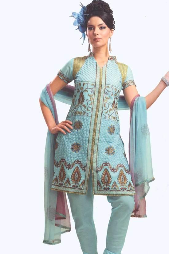 Light Blue Cotton Party Salwar Kameez