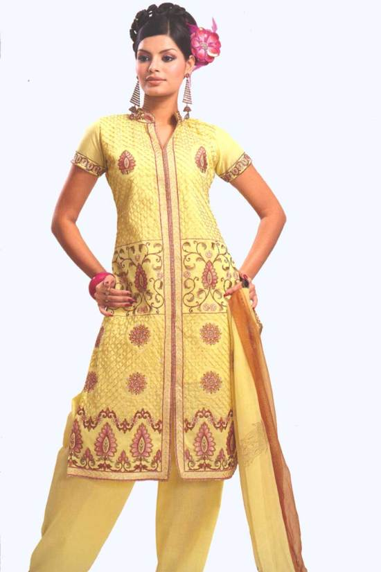 Yellow Cotton Party Salwar Kameez