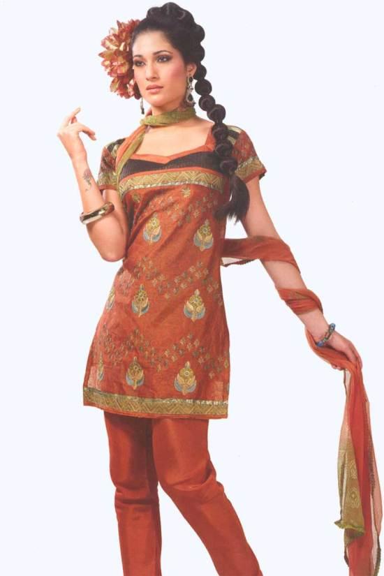 Orange Cotton Party Salwar Kameez