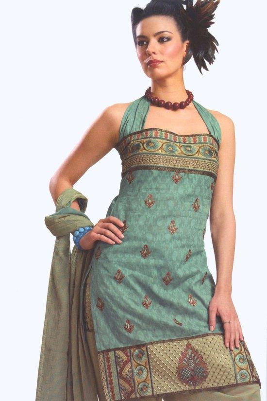 Celadon Green Cotton Party Salwar Kameez