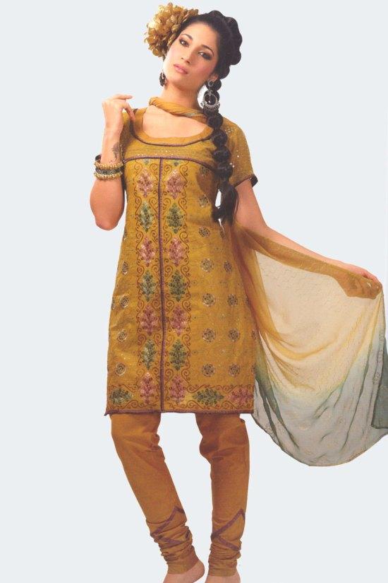 Saffron Yellow Cotton Party Salwar Kameez