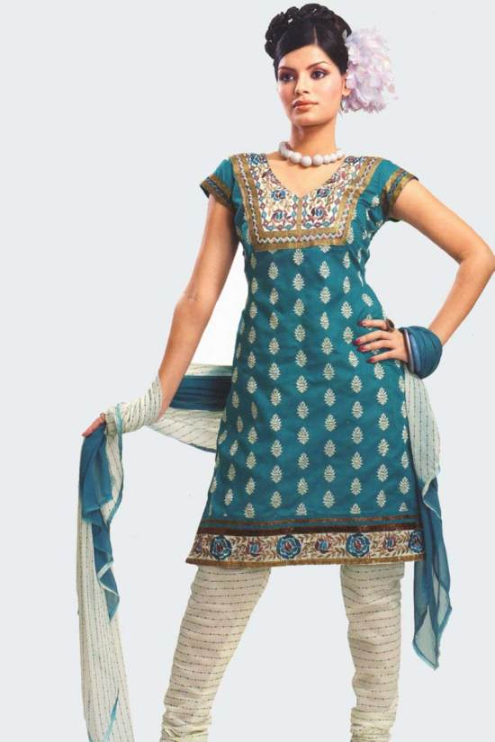 Bondi Blue and White Cotton Party Salwar Kameez