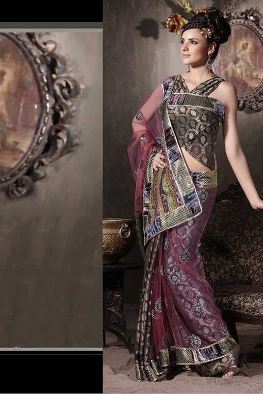Chocolate Brown and Hot Pink Net Party saree