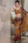 Copper Brown and Maroon Georgette Party Saree