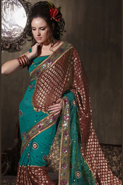 Bondi Blue and Maroon Georgette Party Saree