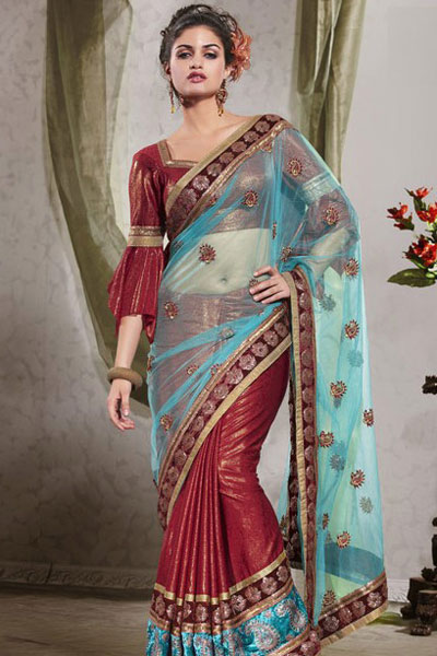 Cerise Red Glass Tissue Party Saree