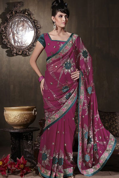 Deep Pink Georgette Party Saree