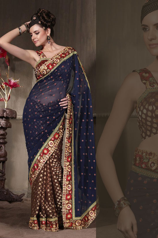 Russet Brown and Navy Blue Georgette Party Saree