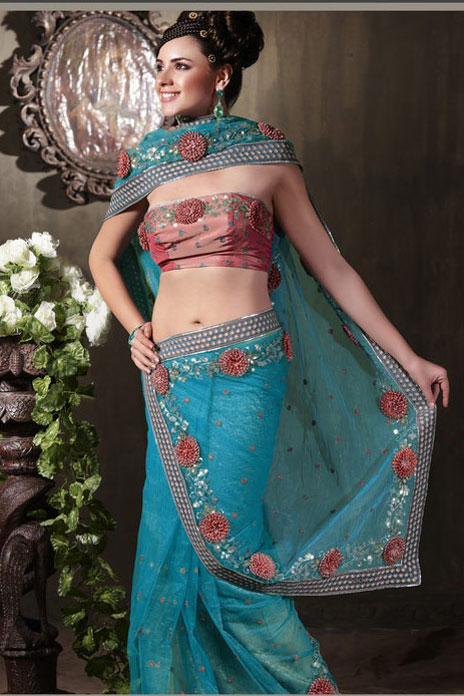 Steel Blue Net Party Saree