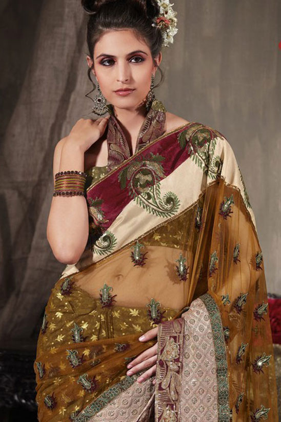 Deep Olive Green Net Party Saree