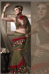 Olive Green Georgette Party Saree