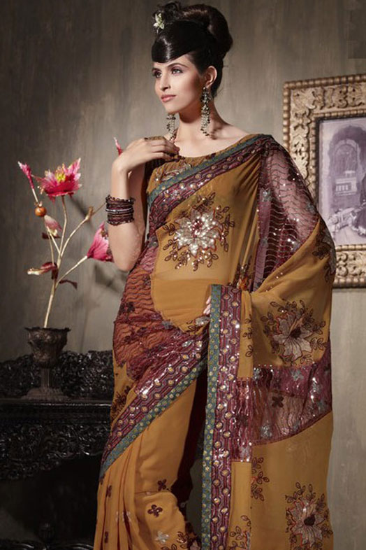 Copper Brown Georgette Party Saree