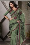 Moss Green Georgette Party Saree