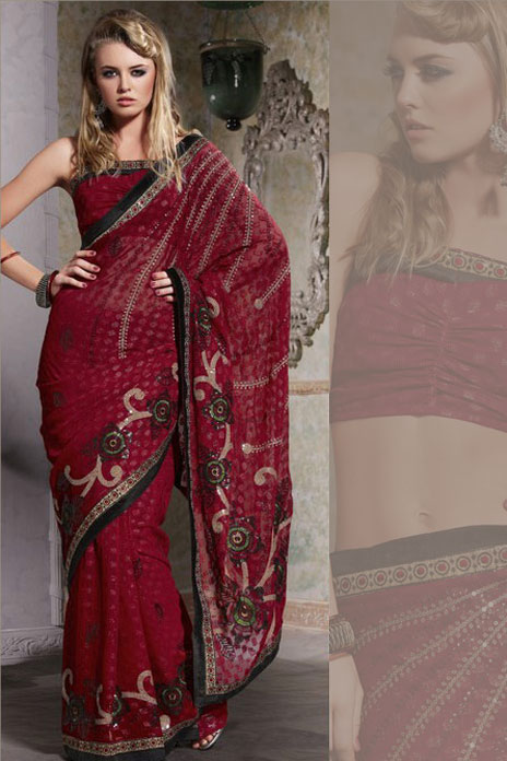 Cerise Red georgette Party Saree