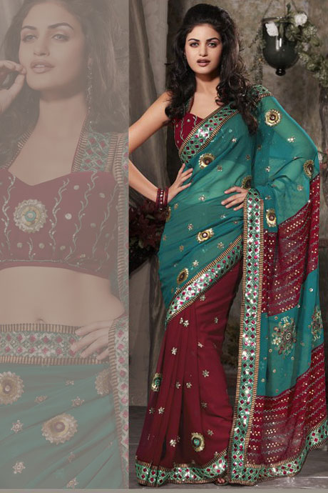 Maroon and Teal Georgette Party Saree