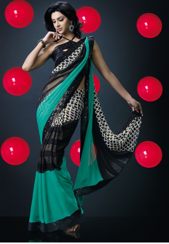 Black and Persian Green Georgette Party sarees