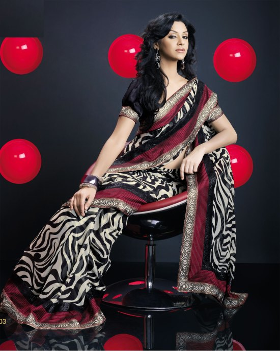 Beige and Black Georgette Party saree