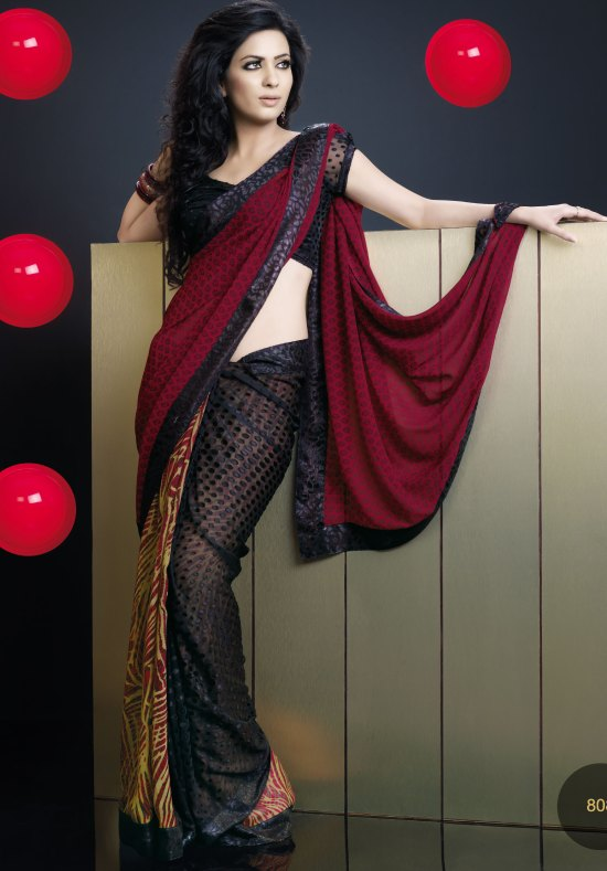 Black and Maroon Georgette Party saree