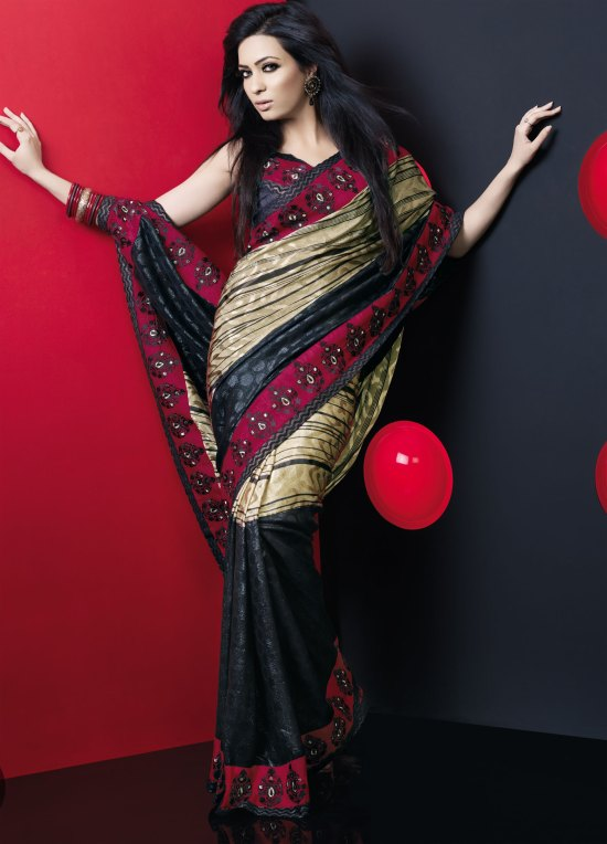 Moss Green and Black Crepe Party saree
