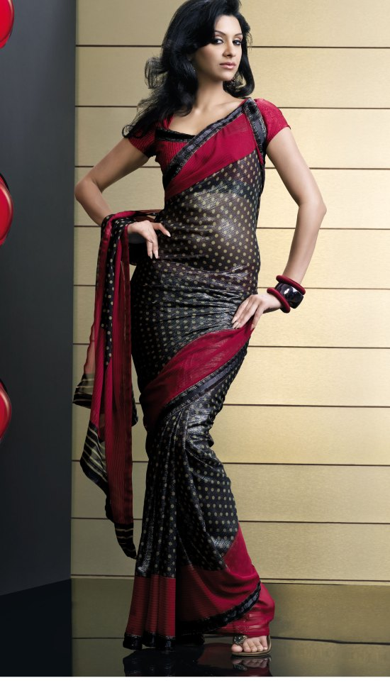 Black and Red Shimmer Georgette Party saree