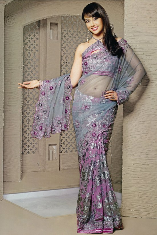 Lovely Pink and Gray Brasso Embroidered party saree