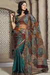 Embroidered Party wear designer saree in Teal and Brown color