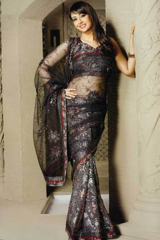 Embroidered Party Wear Saree in Crepe fabric and in gray color