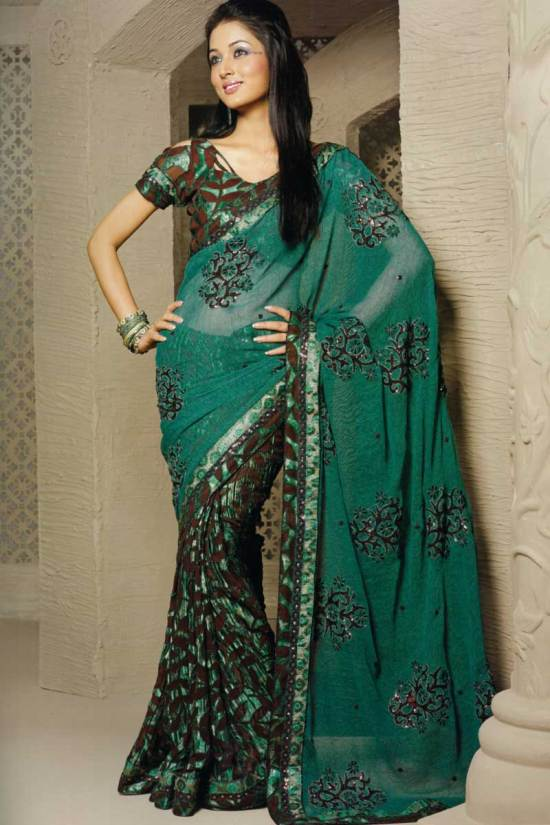 Georgette Pine Green Embroidered Designer Sari