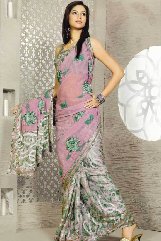 Designer Party wear saree in hot pink color