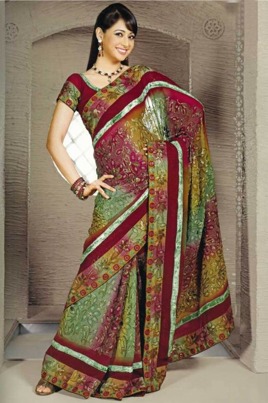 Crepe Maroon embroidered party saree