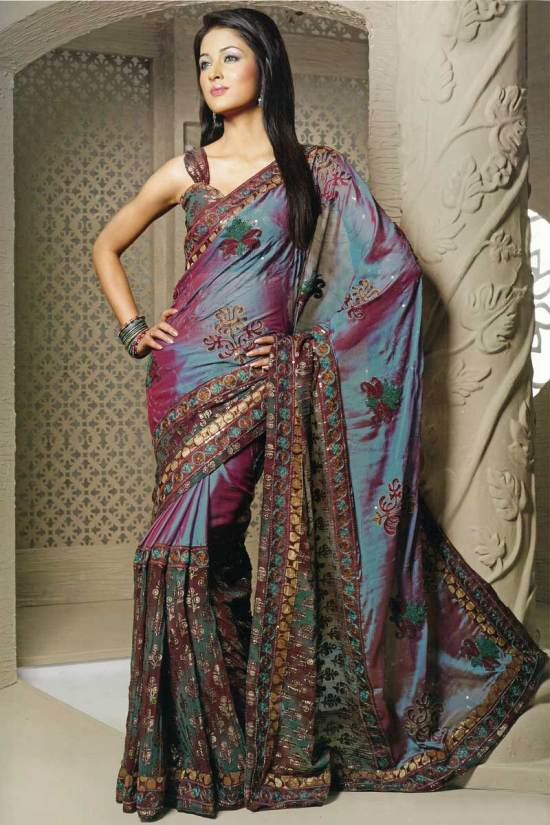 Crepe Designer Embroidered Party Sari