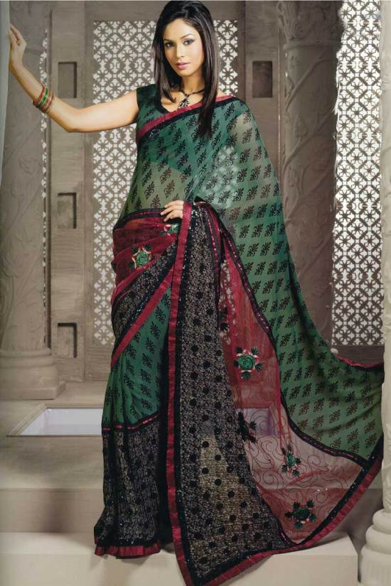 Green and Violet Georgette Embroidered party saree
