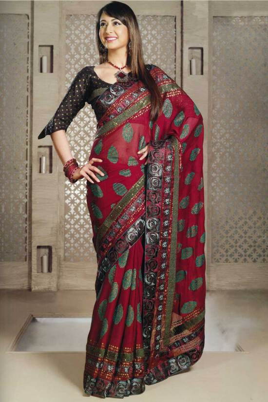Beautiful Saree for partywear in teal and hot pink color