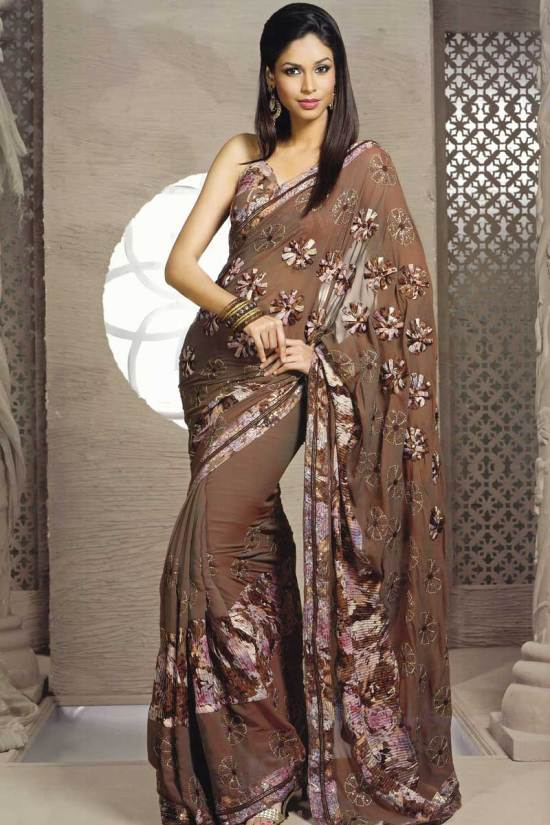 Georgette Russet Brown Sari for party wear