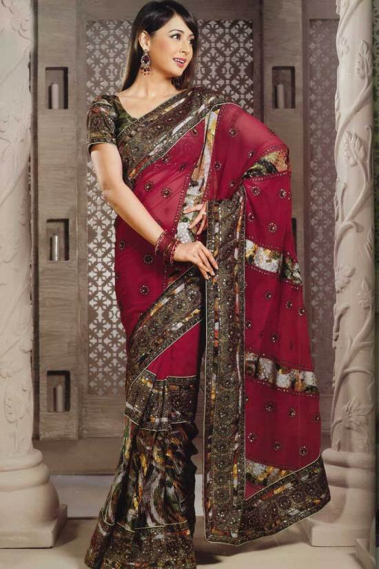 Georgette Burgundy Party Wear Saree with Embroidery