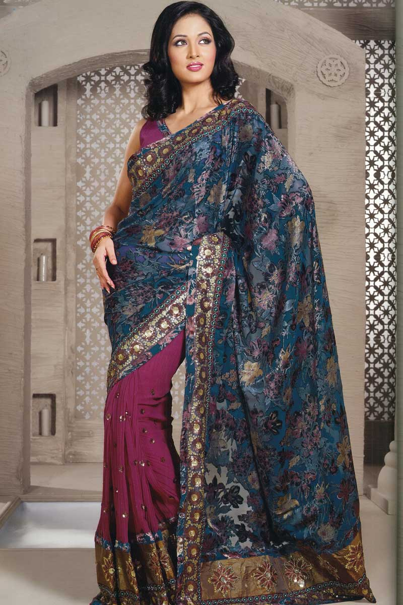 Festival or Party Wear Sari in deep pink and blue color