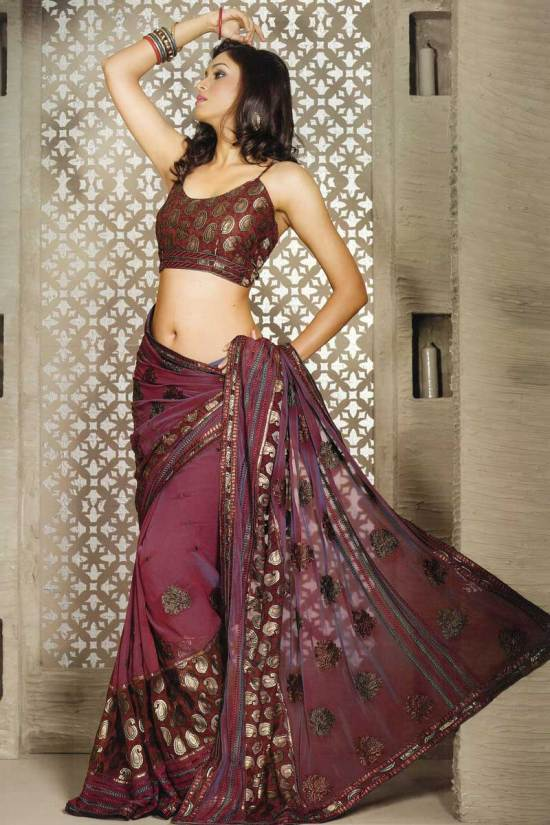 Party and casual wear saree with embroidery in georgette fabric