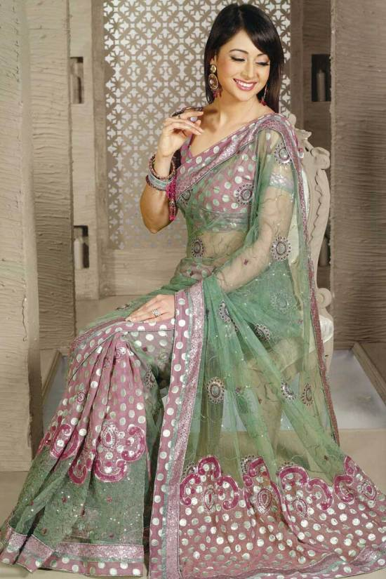 Net Embroidered Moss Green festival or party Sari