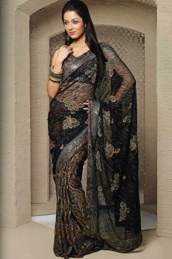 Black Party Saree with Embroidery Work