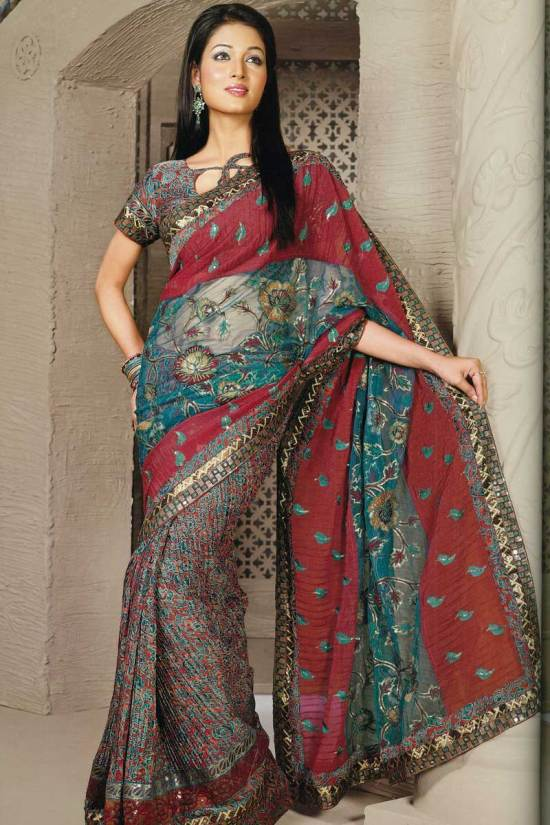 Red Crush Georgette dual fabric saree