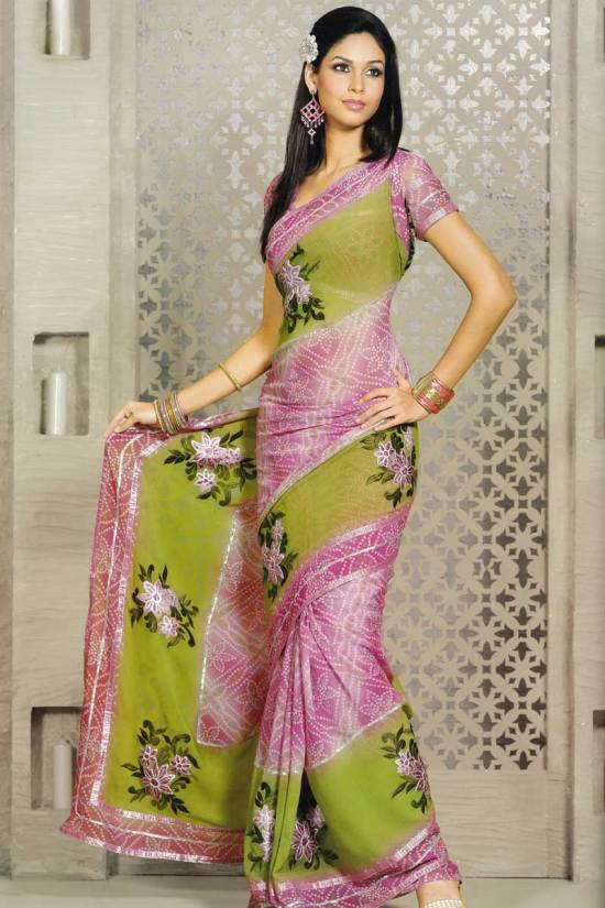 Light Green Party Wear Saree in Georgette Fabric