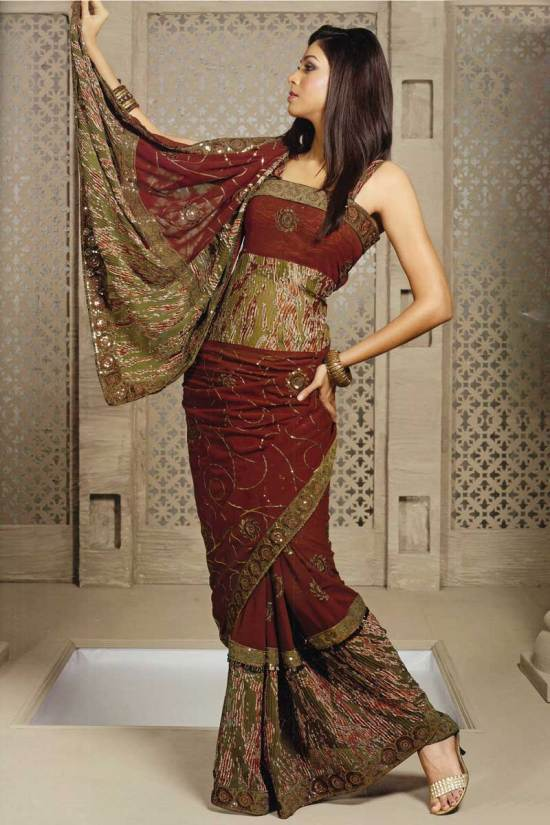 Embroidered Georgette Party Wear Sari in Russet Brown Color