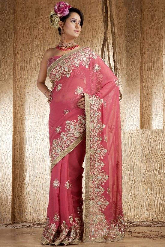 Deep Pink Shimmer Georgette Wedding Saree