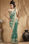 Pine Green Shimmer Georgette Embroidered Wedding Saree